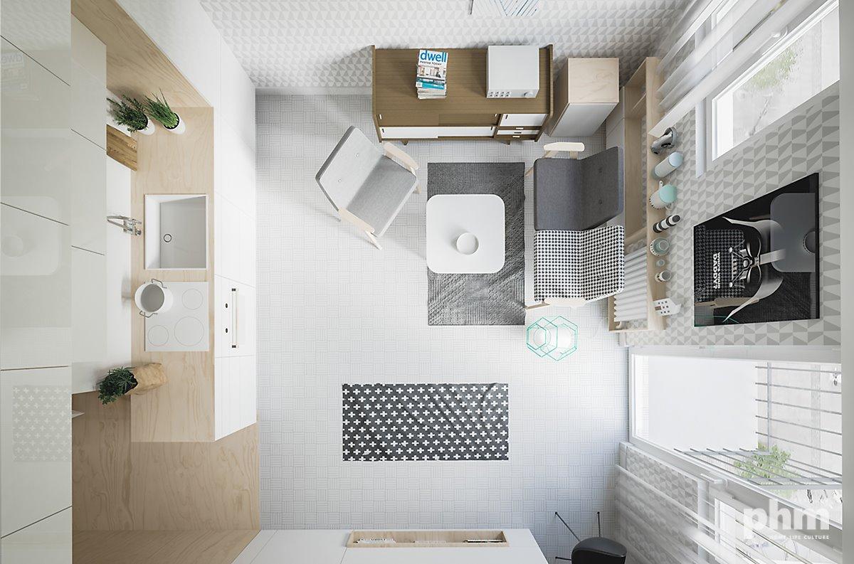 50 미터제곱의 작은 스튜디오 형태의 주택 아이디어 Small Studio Idea