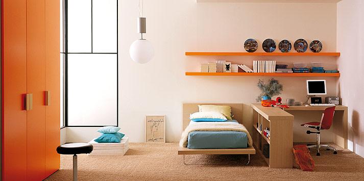 turquoise-orange-bed-room-1