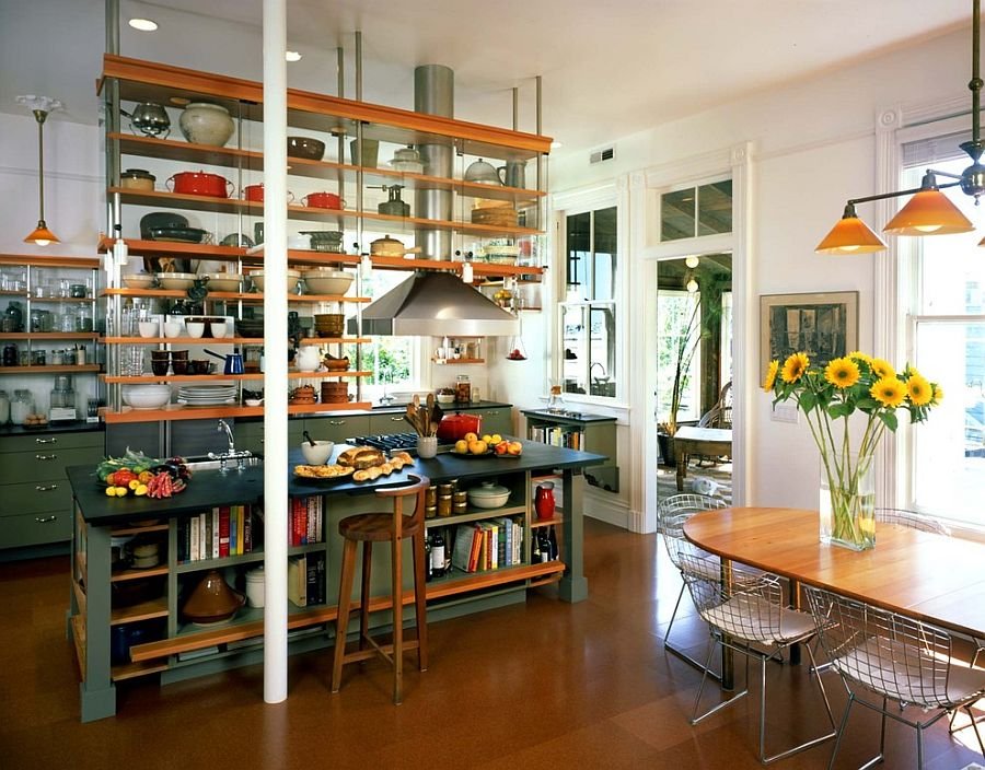 industrial-kitchen-with-ceiling-hung-shelves-and-an-island-with-open-shelves-as-well
