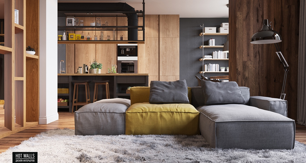 gray-couch-yellow-cushion-wooden-cabinets