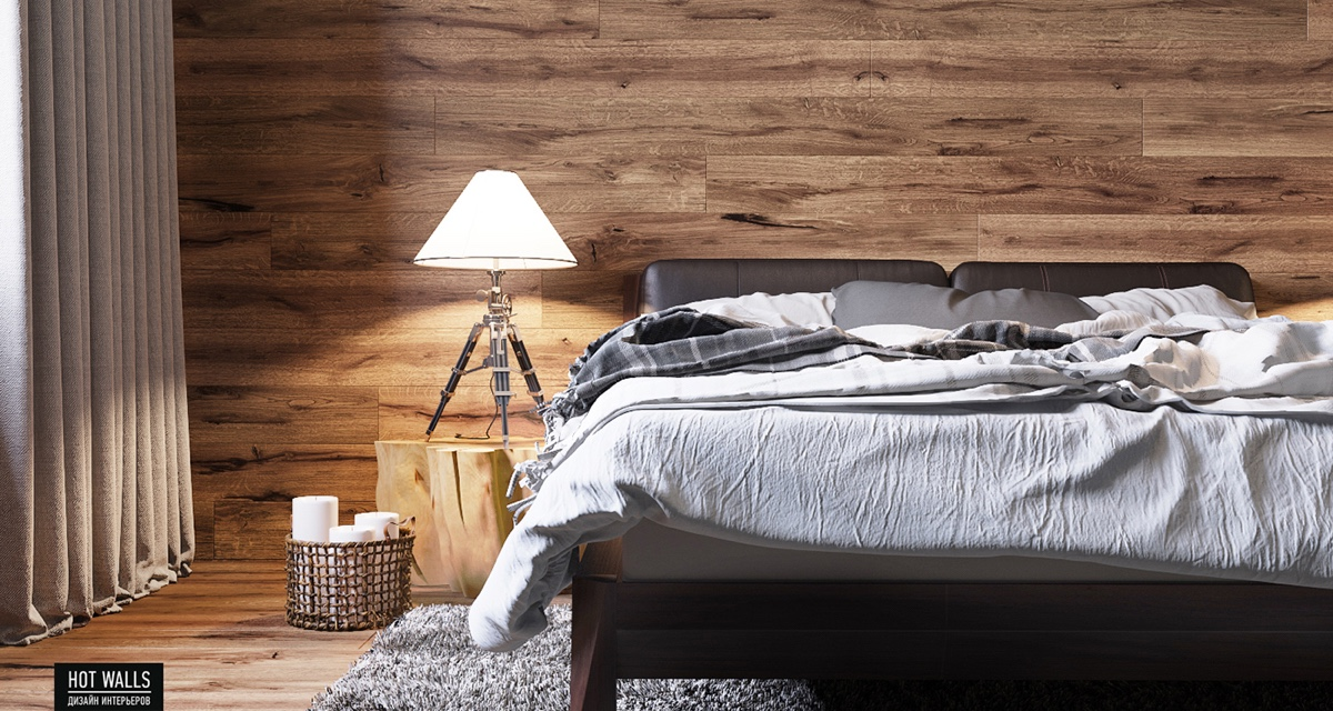unmade-gray-bed-wooden-wall-wood-stump-side-table